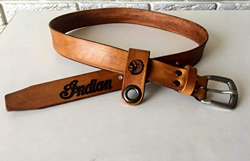 Personalized Custom Belt with Rounded Brass Buckle, Men's Leather Belt, High Quality Custom Vegetable Leather, Biker Leather Belt