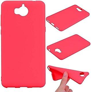 キャンディ色の超薄型軽量TPU保護ケース(ブラック)ストラクチャード電話ケース携帯電話アクセサリーHuawei社Y5 2017シェル-Red
