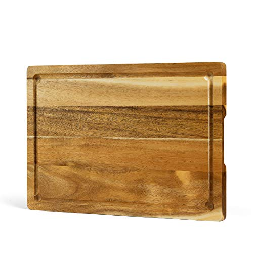 FANICHI Large & Thick Acacia Wood Cutting Board: 15 x 10 x 0.7 Inch with Juice Groove, Inner Handles.