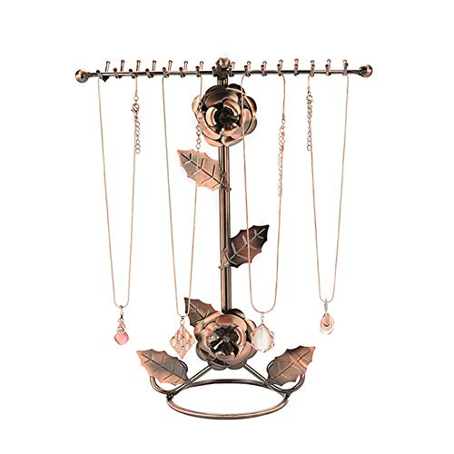 lffopt Earring Holder Jewellery Stand Wrought Iron Jewelry Stand Necklace Hanger Jewellery Organiser Hanging Rose Jewelry Stand Stud Earring Holder bronze