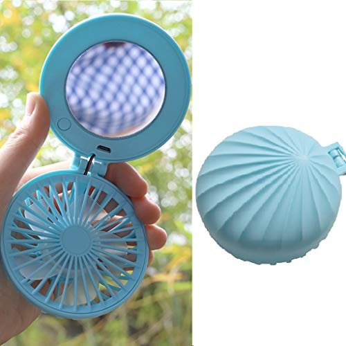 Buy Bargain Mini Handheld Fan - 3 Speed Folding USB Rechargeable Cosmetic Beauty Mirror Cooling Fan ...