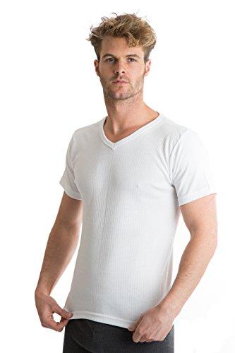 RP Collections - T-shirt col V - sous-vêtement thermique - homme - blanc - L [poitrine 101,6-106,6 cm]