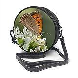Rterss Runde Schultertasche aus echtem Leder, Vintage-Stil, verstellbarer Schultergurt, für Damen, Schmetterlings-, Banghal-Nahaufnahme, Knoblauch