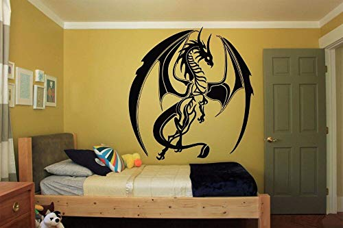 Crjzty Home Wanddekoration Zubehör Tribal Monster Drache Wandaufkleber Wand Raumdekoration Kunst Vinyl Aufkleber Aufkleber Draco 42X48cm