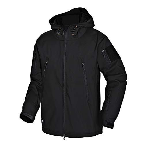 Wisdom Wolf Hommes Vestes Militaire Tactique Imperméables Softshell Toison Manteau d'hiver Outdoor Hoodie,Noir,XXL