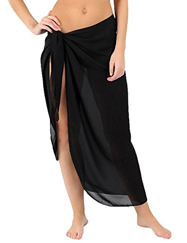 ChinFun Women's Sarong Wrap Beach Swimwear Semi-Sheer Super Soft Mesh Long Length Type Cover Up Pareo Wrap Skirt Swimsuit Solid Colors Black