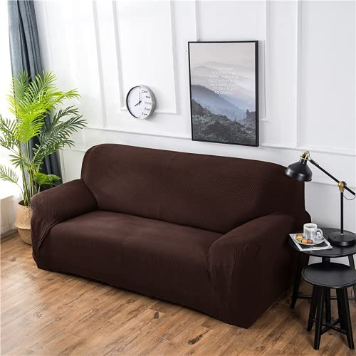FENFANGAN Fundas para Sofas Impermeables, para Sala De Estar, Fundas Sofa Elasticas, Tela Funda Sofa Ajustables, Cubre Sofa para Decoración del Hogar (Brown,4-Seater 230-290cm)