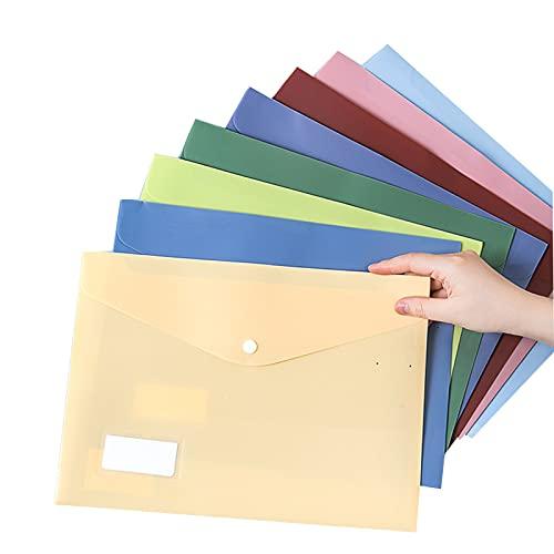 Carpeta De Plástico, Carpeta Tamaño Carta A4 con Ranura para Bolígrafo/Bolsillo para Etiquetas/Broche, 8 Piezas, 8 Colores (Size : 8pcs)
