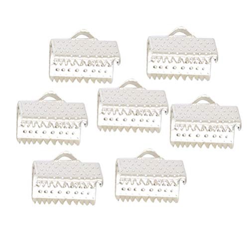 HEALLILY 100pcs Crimp Cord Ends Ribbon Ending Clasp Tips End Clamp Jewelry Connector Components Jewelry Making Accessories (Silver)
