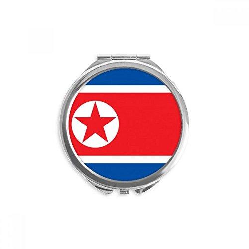 DIYthinker drapeau national corée du nord asie pays miroir rond maquillage de poche à la main portable 2,6 pouces x 2,4 pouces x 0,3 pouce Multicolore