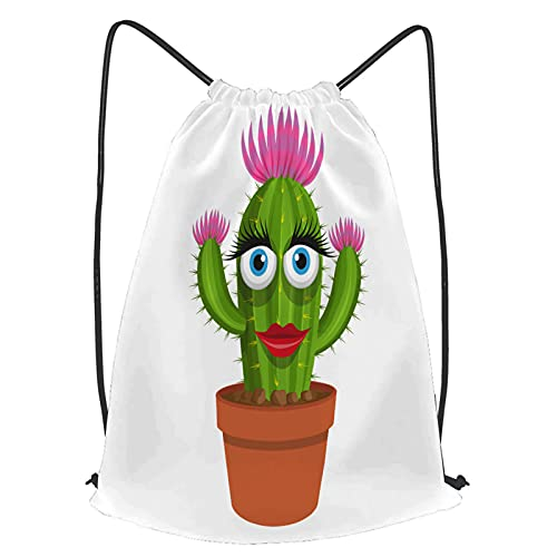 fudin Unisex Wasserdicht Kordelzug Rucksack Kaktusikone Cartoon Topf stachelige Pflanze Turnbeutel Sporttasche für Yoga Freien Schule Strand Schwimmen