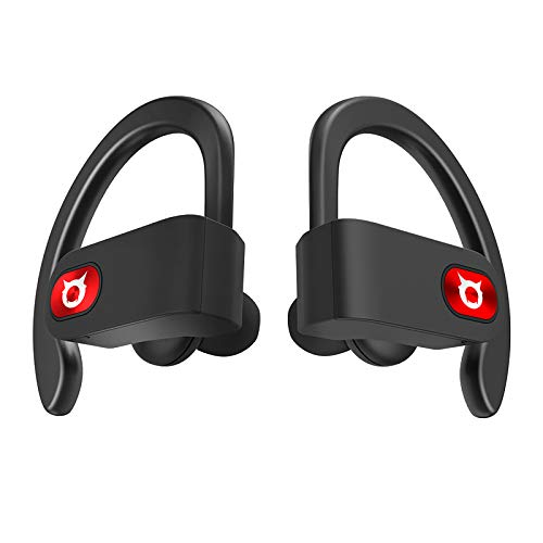 SP8 Wireless Headphones for Sport, 12 Hours Musictime Per Charge, Bluetooth 5.0 Headphones with Volume Control/HD Mic, Memory Wire Over Ear Hooks,HiFi Stereo in-Ear Earphones with Charging Case