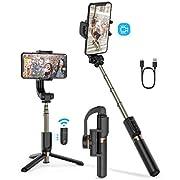 BlitzWolf Bluetooth Selfie Stick Stativ mit Stabilisator, Einachsiger Gimbal Stabilisator 2 Modus Anti-Shake Stabilizer Selfie Stange Monopod mit Fernbedienung für iPhone Android Smartphones(Schwarz)