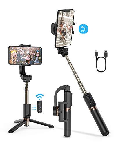 BlitzWolf Selfie Stick Treppiede con Gimbal Stabilizzatore One-Axis, Selfie Stabilizzatore con Bilanciamento Automatico Antivibrazione, Selfie Bluetooth per iPhone Samsung Huawei, Smartphone Android
