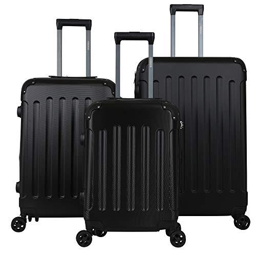 Arebos Premium - Juego de Maletas rígidas con Ruedas | Maletas de Viaje ampliables | Equipaje de Mano de Material ABS con candado TSA y 4 Ruedas | M+L+XL | Color Negro
