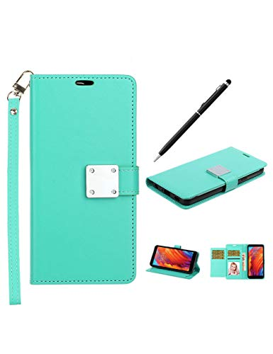 LG Aristo 4/Aristo 4+ Plus Case with Stylus Pen, K30 2019/ X320 Escape+ Plus Folio Flip Cases, PU Wallet with Card Slots Wristlet Hand Strap, Protective Cover with Kickstand Feature (Mint)