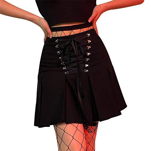 Enfei Las mujeres plisaron la mini falda gótica negra de cintura alta acanalada con cordones hasta las faldas cortas de la muchach