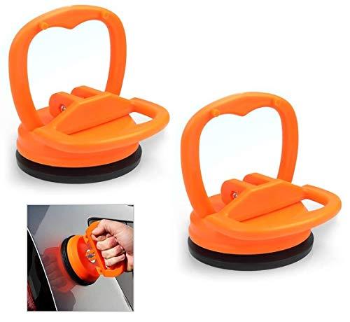 Voarge 2 piezas de ventosa extractora de abolladuras, herramienta de extracción de cristal, pequeño soporte de ventosa, 6 cm (naranja)