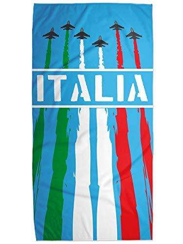 STAMPATEK Telo Mare Italia Italiano Frecce Asciugamano Tricolore in Microfibra e Cotone 75x150 cm