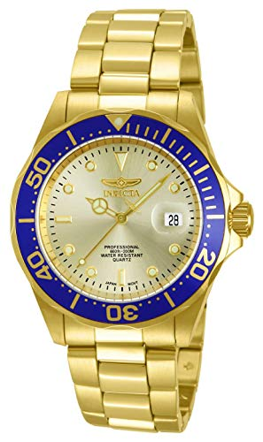 Invicta Men's Pro Diver 40mm Gold Tone Stainless Steel Quartz Watch, Gold (Model: 14124)