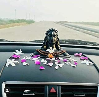 YUVAANSH Creations Matte Black Color Adiyogi Shiva Idol for Home Decor, Gift & Puja, Car Dashboard Statue   Made in India