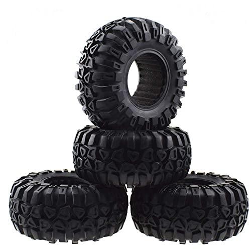 XXLYY Neumáticos para Coches de Escalada, neumáticos Antideslizantes de Goma con Revestimiento de Esponja, Ruedas de Metal, neumático con Cable de 2,2 Pulgadas para Todo Tipo de Clima, 4 Piezas