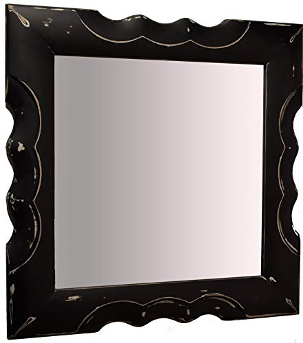 Miroir miroir mural avec cadre carré moderne en bois noir vintage. Mesure cm. 97 x 97. Fabriqué en Italie.