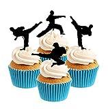Karate TaeKwondo Martial Arts Silhouette Silhouette Acrylic Cupcake Toppers 12 pcs