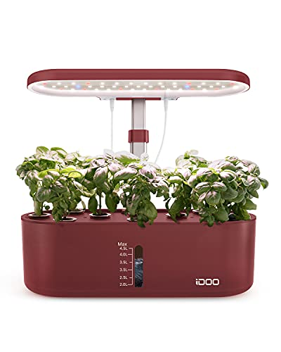 iDOO Hydroponische Anzuchtsysteme, 10 Pods Smart Garden mit Auto-Timer, LED Pflanzenlampe, Indoor Kräutergarten Keimungsset, Höhenverstellbar, Wassermangelalarm