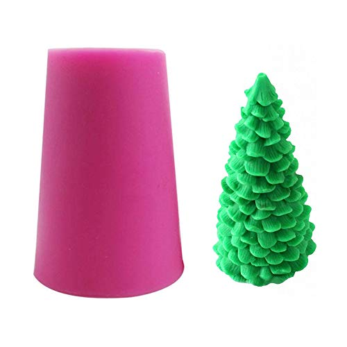 Fewo 3D Christmas Tree Silicone Mold for Fondant Chocolate Candy Cake Decorating Candle Soap Lotion Bar Wax Crayon Melt Plaster Polymer Clay Xmas Party Supplies
