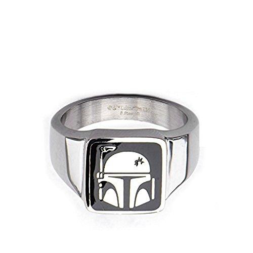 Anillo para casco de acero inoxidable de Star Wars Boba Fett con licencia oficial de Disney para hombre