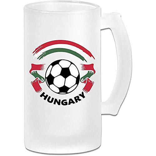 Hongaarse vlag en voetbal-1 Frosted Glass Stein Beer Mok, Pub Mok, Drank Mok, Gift for Beer Drinker, 500Ml (16.9Oz)