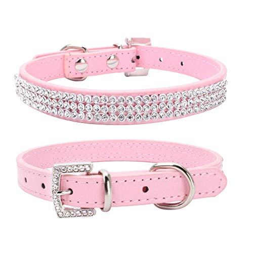 Collar del Animal doméstico del Rhinestone del Cuero del Diamante Collares para Perro Gato Cachorro Talla Gatito XS-M Rosado XS