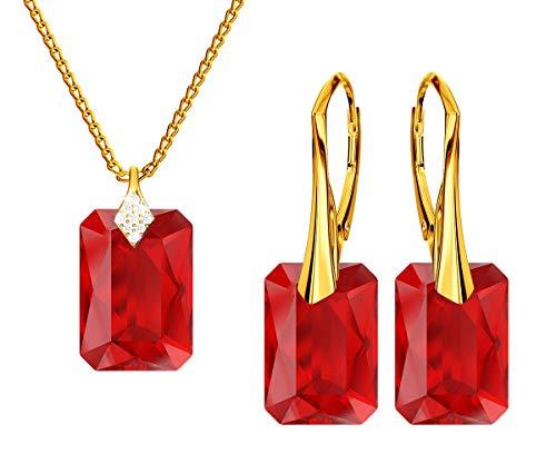 *Beforya Paris* Novedad esmeralda * Light Siam* - Plata 925 / Bañada en oro de 24 K - Joyas con cristales de Swarovski Elements - Pendientes y collar con caja de regalo