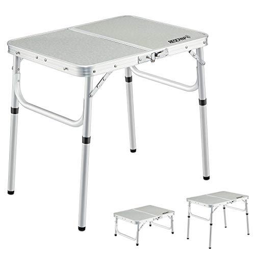 REDCAMP アウトドア テーブル 折りたたみ キャップ 高さ調節可能な脚付き 小型 軽量 持ち運び アルミ製 コンパクト ピクニック ビーチ 室内 屋外 60x40cm(2つの高さ)