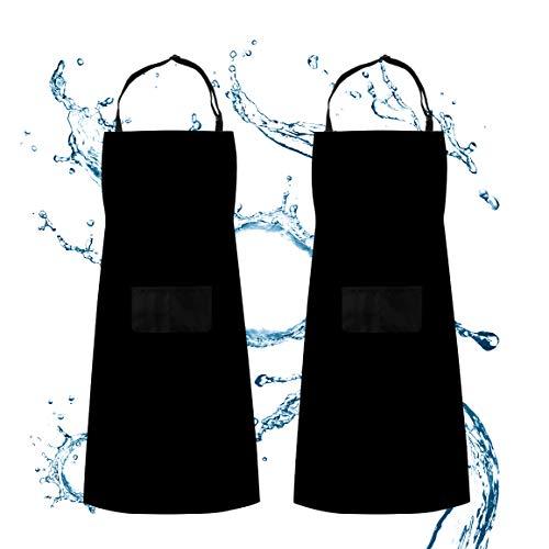 ss shovan Schürze, 2 Pack Küchenschürze Verstellbare Wasserdicht beständig mit 2 Taschen Kochen Küche Garten BBQ Schürzen, Schwarz, für Frauen Männer Chef