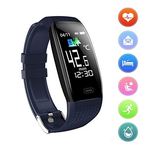Orologio Fitness Bluetooth Impermeabile con Misurazione della Temperatura, Contatore Passi, Cardiofrequenzimetro da Polso, Calorie, Monitor del Sonno per Uomo Donna Bambini,Blu