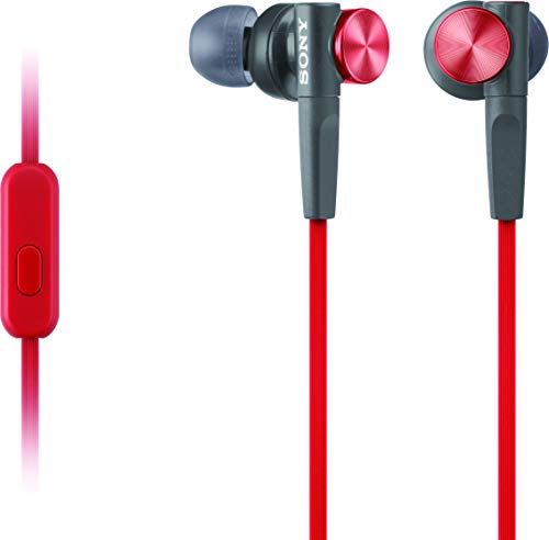 Sony MDRXB50AP Extra Bass Earbud Headphones/Headset with Mic for Phone Call, Red