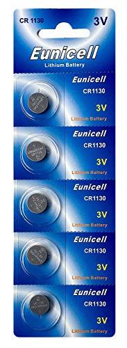 Eunicell 5 x CR1130 3V Lithium Knopfzelle 48 mAh (1 Blistercard a 5 Batterien) EINWEG