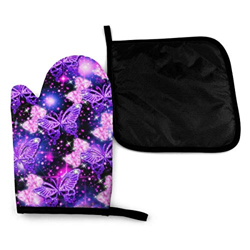 Guantes para microondas Purple Cute Print Kitchen Set Oven Mitts and Pot Holders Advanced Heat Resistant Hot Pads Cooking Mitt