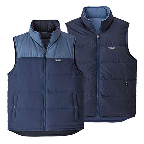Patagonia M Reversible Bivy Down Vest Blau, Herren Daunen Weste, Größe L - Farbe Stone Blue W - Woolly Blue