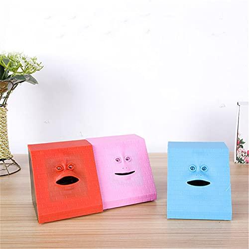 Face Bank, Eating Coin Bank con Blue Dots, Face Piggy Bank para la colección automática de Ahorro de Dinero para niños (Azul)