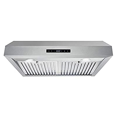 Cosmo UMC30 Under Cabinet Range Hood with Permanent Filters, LED Lights, Convertible from Ducted, 30 in, Stainless Steel