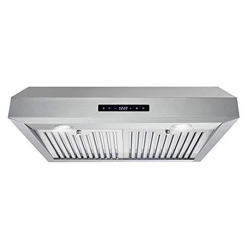 Cosmo UMC30 Under Cabinet Stainless Steel Range Hood with 380 CFM, Permanent Filters & LED Lights, 30 in