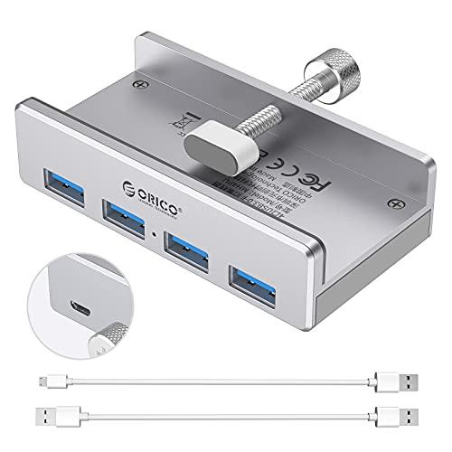 ORICO Alimentado Hub USB Adaptador USB 3.0 tipo C con 4 puertos USB 3.0 Hub USB de aluminio, transmisión rápida de cable de datos tipo C a tipo A, diseño de accesorios de escritorio