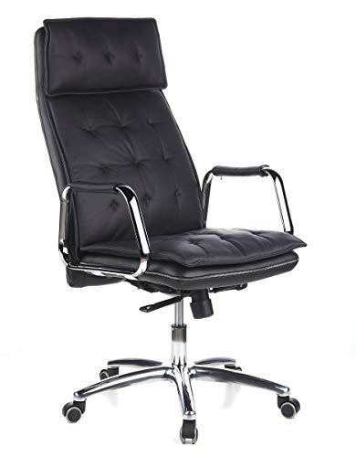 hjh OFFICE 600920 Sedia da ufficio/Sedia presidenziale VILLA 20 nappa nero, schienale alto, poggiatesta integrato, elegante, braccioli con cuscinetti in pelle rimovibili, sedia da scrivania ergonomica, robusta, meccanismo sincronizzato