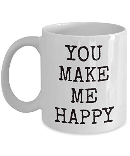 Betsy34Sophia geluks-koffiemok witte keramische thee-schaal maak me gelukkig bekergeschenk voor echtgenote vriendin vriendin vriendin voor Kerstmis