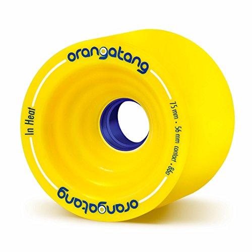 Orangatang In Heat 75 mm 86a Downhill Longboard Skateboard Cruising Wheels (Yellow, Set of 4)