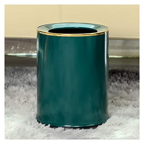 KGDC Mülleimer Licht Luxus-Runde Trash Can Haushalt Uncovered Wohnzimmer Schlafzimmer Müllbehälter einfach und modern Papierkorb, 14 Liter / 3,6 Gallonen Abfalleimer fürs Bad (Color : Green-14L)