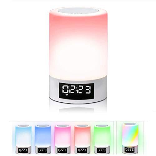 Dulimei Nachtlampje, bluetooth-luidspreker, led-nachtlampje, moderne tafellamp, touch-sensor, bureaulamp, dimbaar, warmwit licht en 7 kleuren, 3 helderheidsveranderingen, met wekker